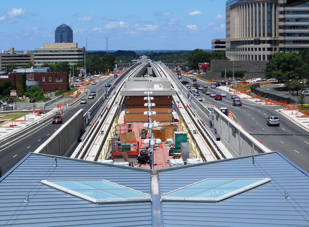 """Looking west down Route 7 from atop the Greensboro Station,"" by Fairfax County on Flickr"